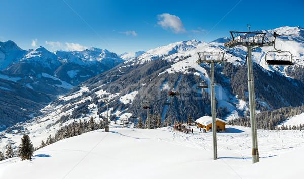 Snow background with ski and snowboard tracks Stock photo © macsim
