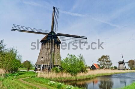 Wind molen water hemel gebouw groene Stockfoto © macsim