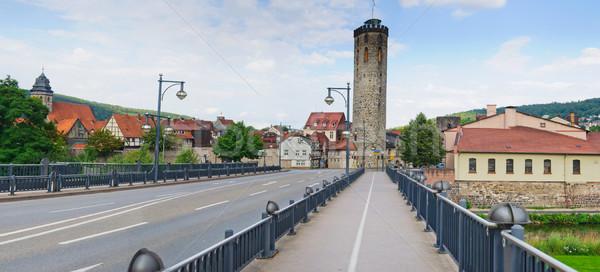 Brug middeleeuwse stad Duitsland boom muur Stockfoto © macsim