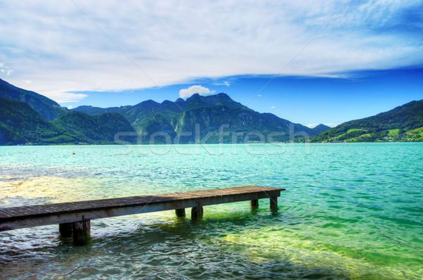 Pier lac Autriche détendre ciel eau Photo stock © macsim