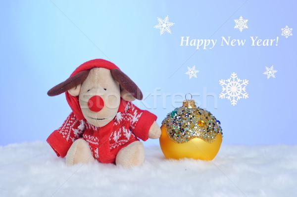 Christmas speelgoed rendier Geel bal winter Stockfoto © macsim