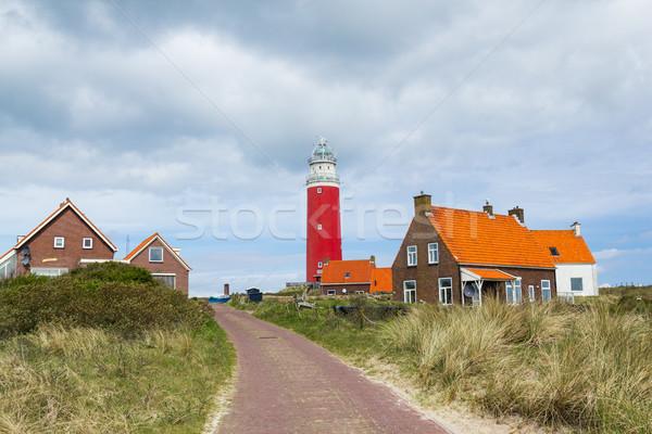 Világítótorony gyönyörű piros út sziget ház Stock fotó © macsim