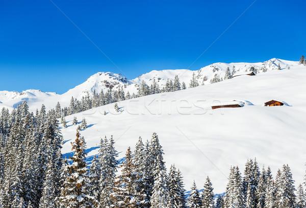 Stock fotó: Sí · üdülőhely · Ausztria · tél · délelőtt · égbolt