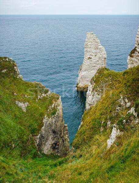 Frankrijk normandië zee rotsformatie verticaal Stockfoto © macsim