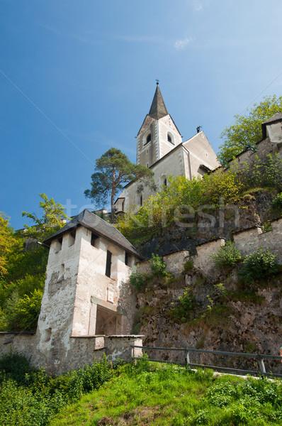 Toren middeleeuwse kasteel Oostenrijk berg gebouw Stockfoto © macsim