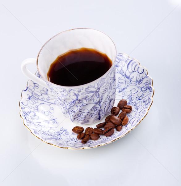 Beker bonen koffiekopje koffie voedsel Stockfoto © macsim