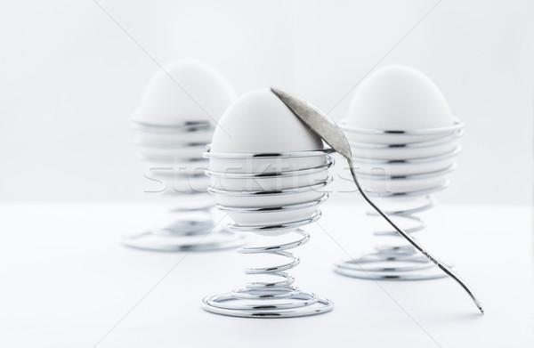 Eieren metaal drie ei Rood ontbijt Stockfoto © macsim