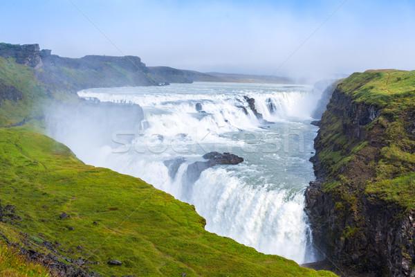 Waterval IJsland gouden natuur landschap schoonheid Stockfoto © macsim