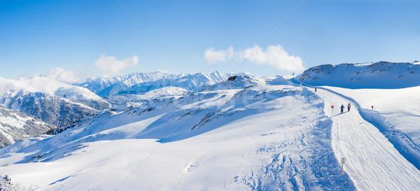 Stock fotó: Sí · üdülőhely · Ausztria · tél · tájkép · panoráma