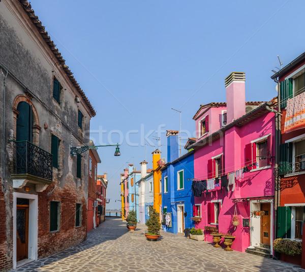 Színes házak Olaszország panoráma épület festék Stock fotó © macsim