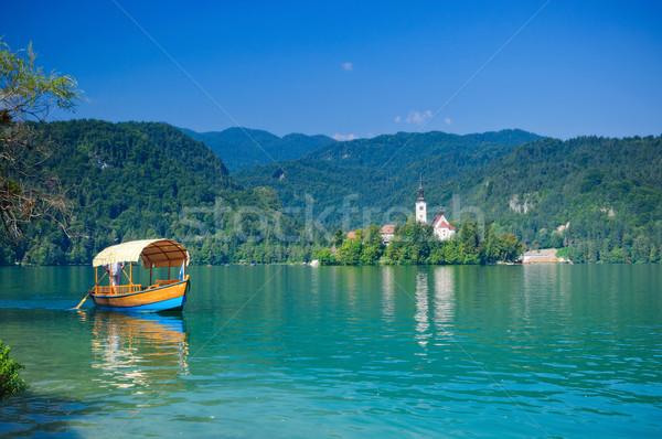 Kleurrijk boot meer Slovenië Europa water Stockfoto © macsim