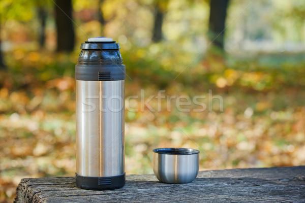 Pad ősz park kávé nap fém Stock fotó © macsim