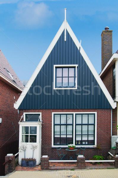 Nederlands traditioneel huis blauwe hemel Nederland gebouw Stockfoto © macsim
