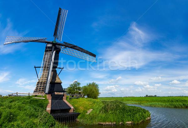 Hollanda fırıldak Hollanda panorama geleneksel kanal Stok fotoğraf © macsim