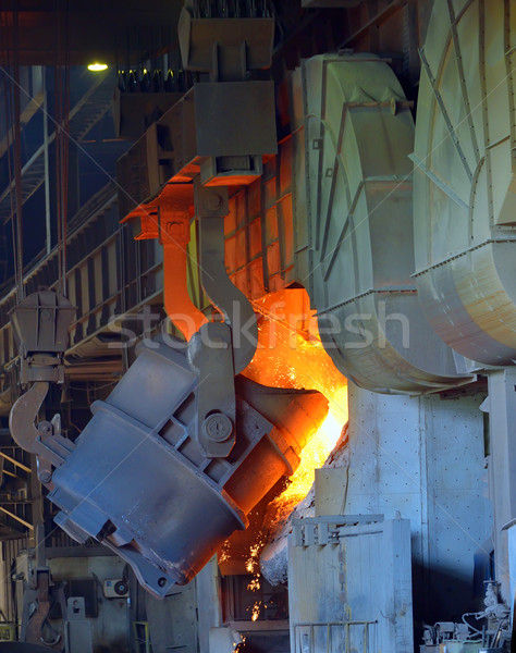 hot molten steel in a iron and steel plant Stock photo © mady70