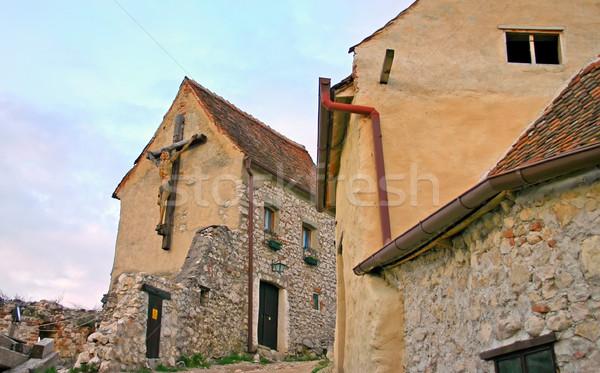 Kereszt feszület téglafal fal történelmi festék Stock fotó © mady70