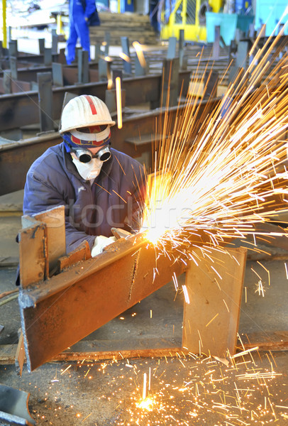 Trabalhador tocha cortar metal fábrica fogo Foto stock © mady70