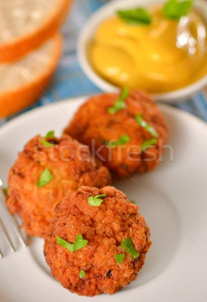 Hús golyók mustár fehér edény labda Stock fotó © mady70