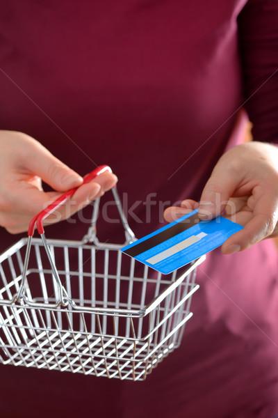 Vásárlás bevásárlókosár hitelkártya online vásárlás számítógép otthon Stock fotó © mady70
