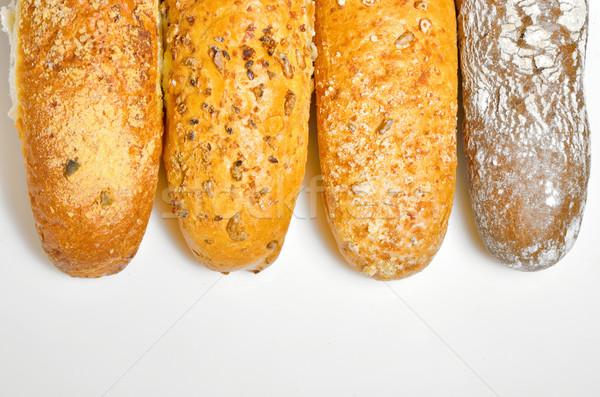 Francia kenyér fehér búza reggeli tábla ruha Stock fotó © mady70