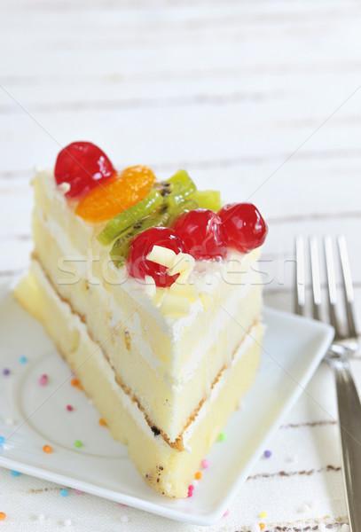 Foto stock: Peça · delicioso · bolo · branco · luz · aniversário