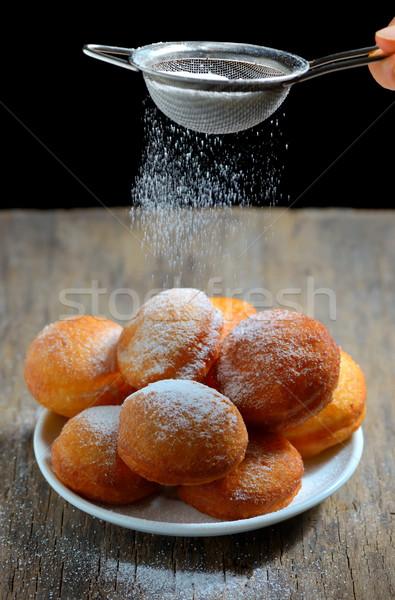 сахарная пудра таблице завтрак жира десерта Сток-фото © mady70
