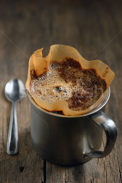 Stock photo: Ground coffee in cup