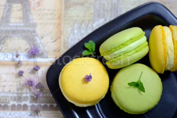 Lemon and mint flavor french macarons Stock photo © mady70
