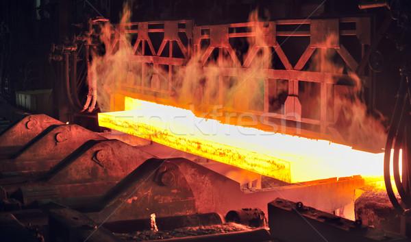 Foto stock: Quente · aço · fogo · metal · laranja · fumar