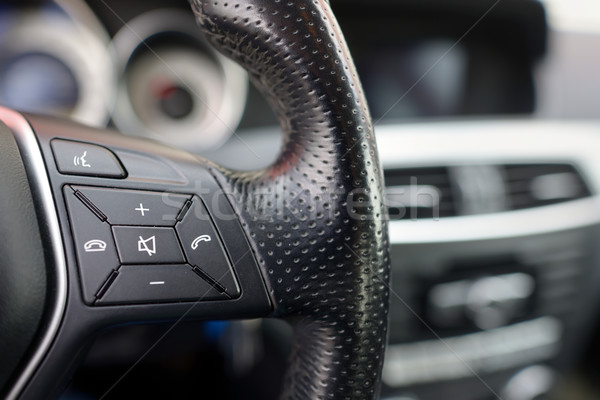 Steering wheel of  car, details of phone adjustment controls Stock photo © mady70