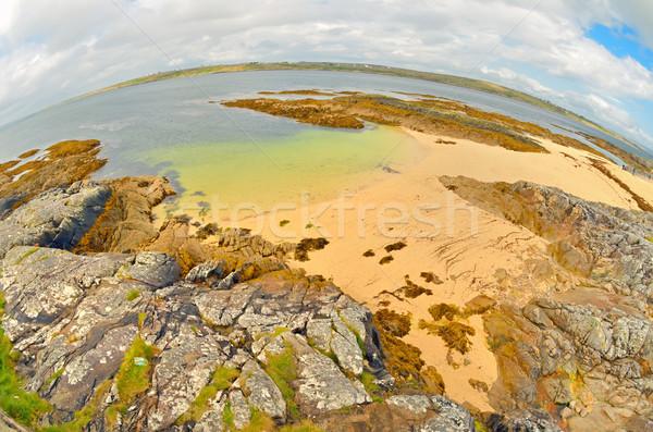 Stock fotó: Halszem · Írország · vidék · tájkép · eső · mező