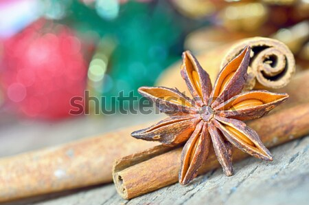extremely closeup view of anise star and cinnamon sticks Stock photo © mady70