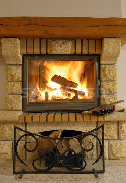 Roaring flames in modern fireplace Stock photo © mady70