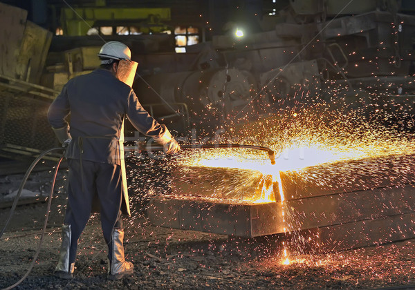 鋼 ワーカー トーチ カット 金属 建設 ストックフォト © mady70