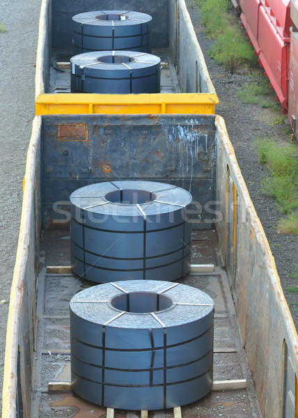 Cargo train platform with role steel Stock photo © mady70