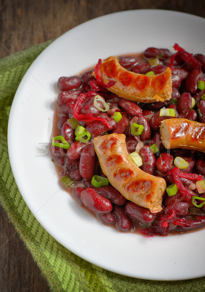 Feijões refeição salsichas vermelho comida carne Foto stock © mady70