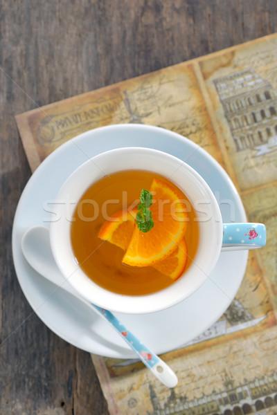 Laranja chá folha de comida Foto stock © mady70