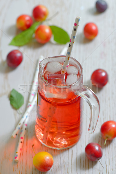 Stock photo: Plum compote in glass jar