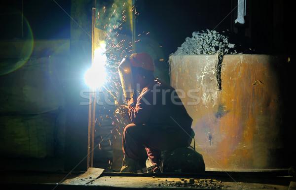 Hegesztő tűz férfi munka technológia gyár Stock fotó © mady70