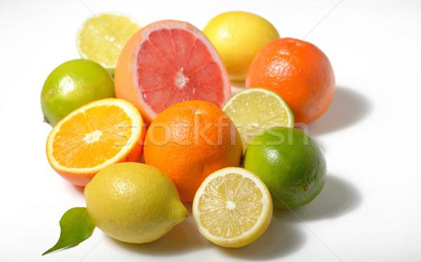 Stok fotoğraf: Narenciye · meyve · yalıtılmış · beyaz · limon · kireç