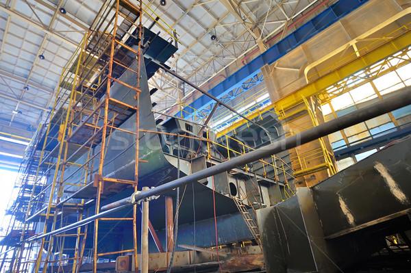Foto stock: Navio · edifício · dentro · mar · ponte · trabalhador
