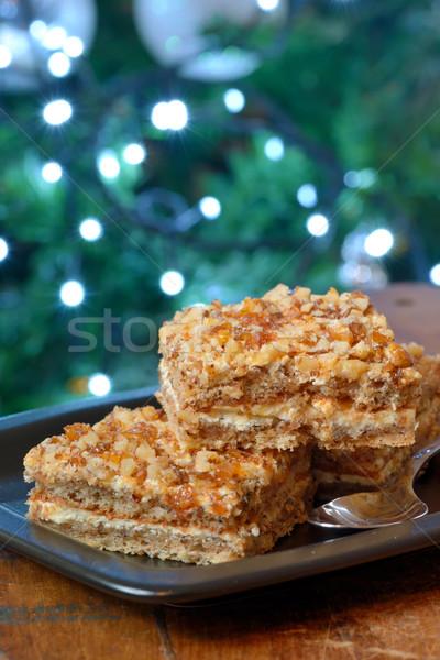 Walnoot karamel cake stukken noten christmas Stockfoto © mady70