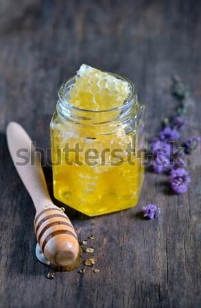 Foto stock: Favo · de · mel · mel · vidro · natureza · laranja · verde
