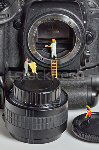 Foto stock: Câmera · sensor · limpeza · homem · vidro · digital