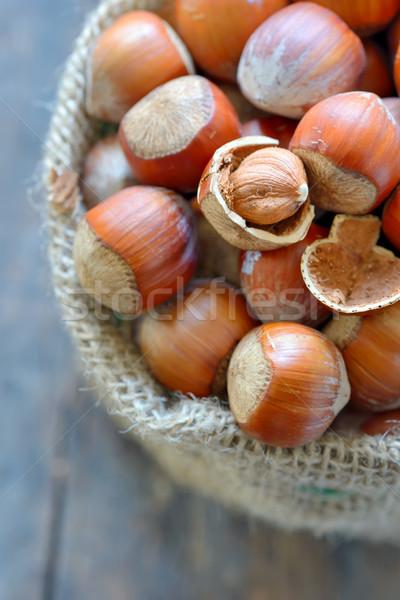 Filbert nut in burlap sack Stock photo © mady70