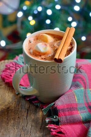горячий шоколад зима время продовольствие шоколадом таблице Сток-фото © mady70