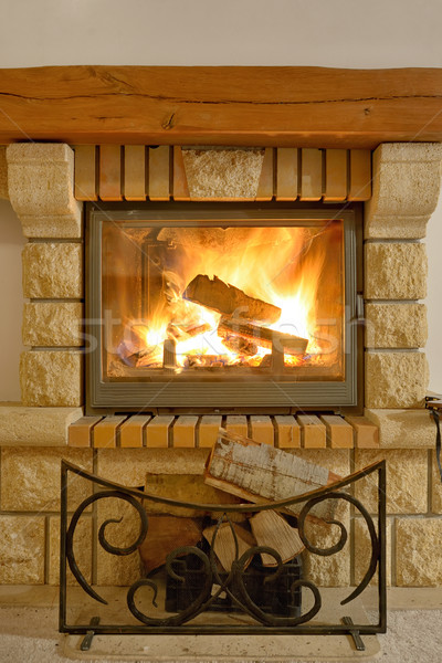 Roaring flames in  fireplace Stock photo © mady70