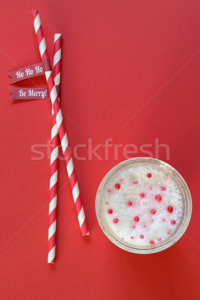 Vidrio leche papel chocolate vida desayuno Foto stock © mady70