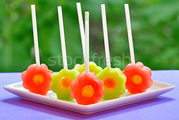 Stock photo: fruit pops of melon and watermelon