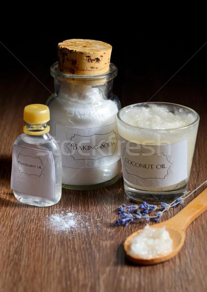 Házi készítésű dezodor kókusz olaj nátrium borsmenta Stock fotó © mady70